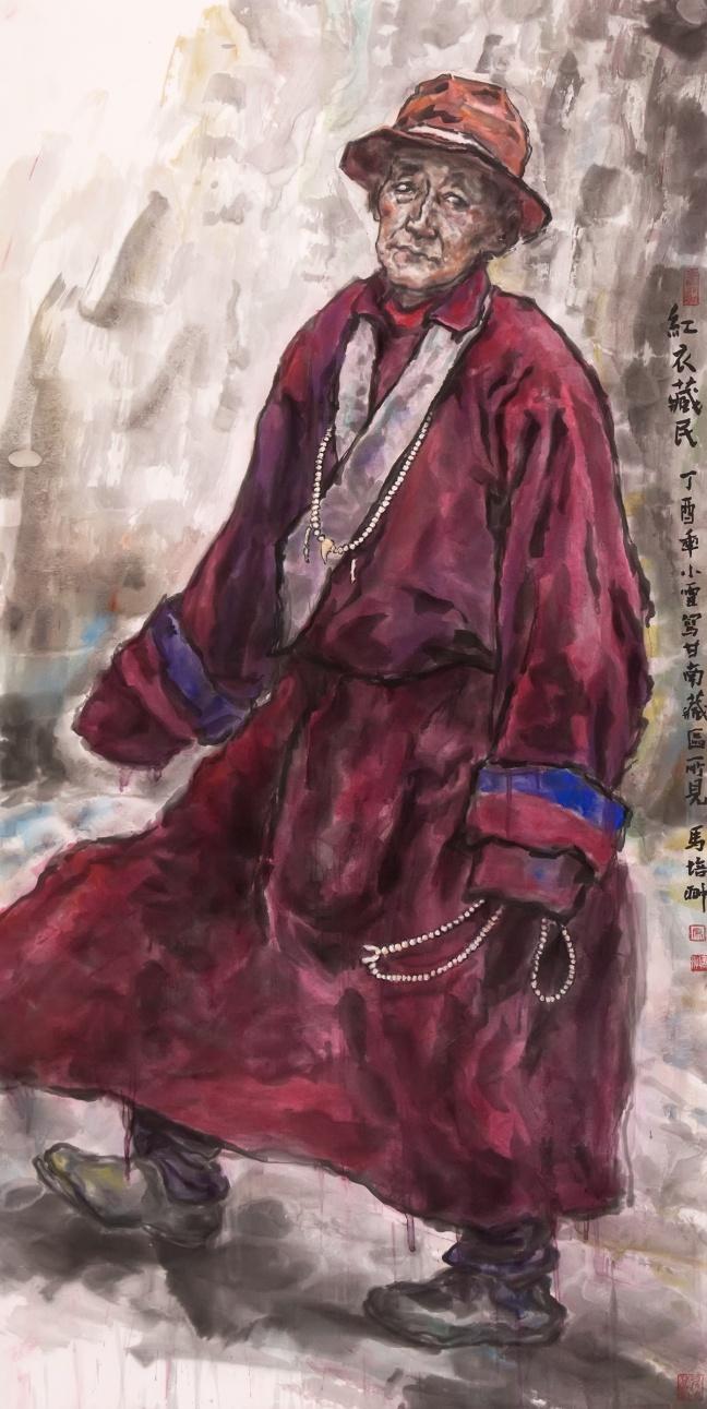 红衣藏民 138×69cm.jpg